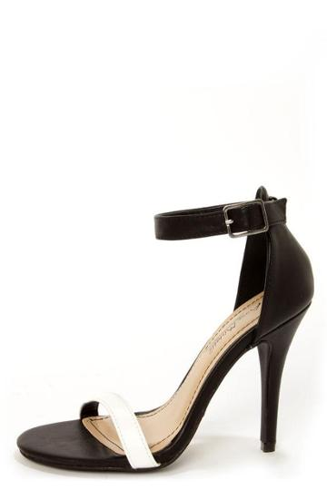 Anne Michelle Enzo 01 Black And White Single Strap Heels