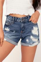 Cello Coastline Cutie Medium Wash Distressed Denim Shorts   Lulus