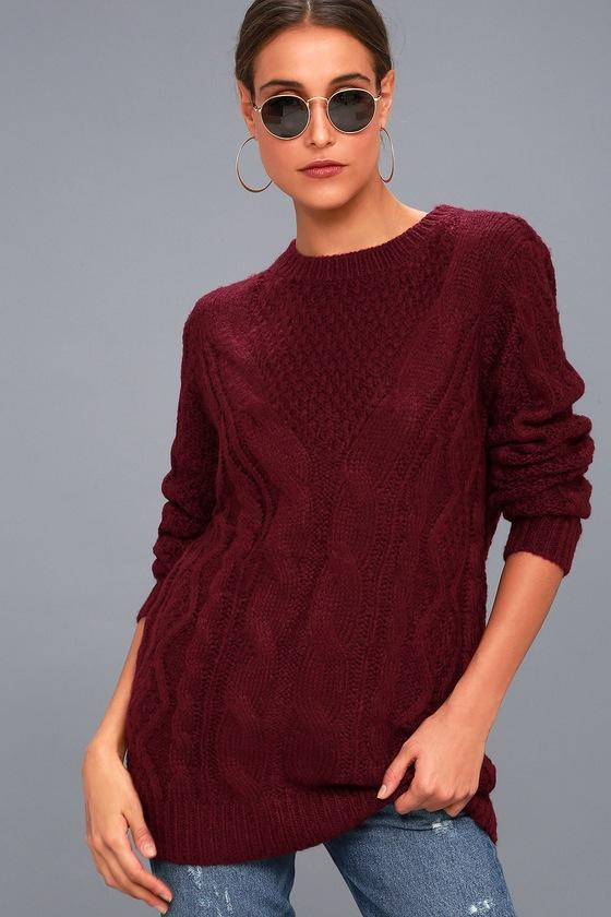 Lulus   Irreplaceable Love Burgundy Cable Knit Sweater   Size Large   Red