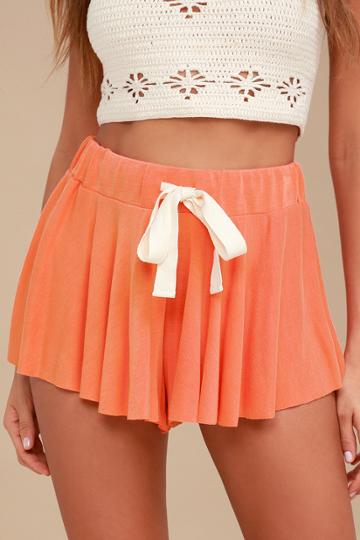 Free People Legs For Days Coral Pink Drawstring Shorts | Lulus