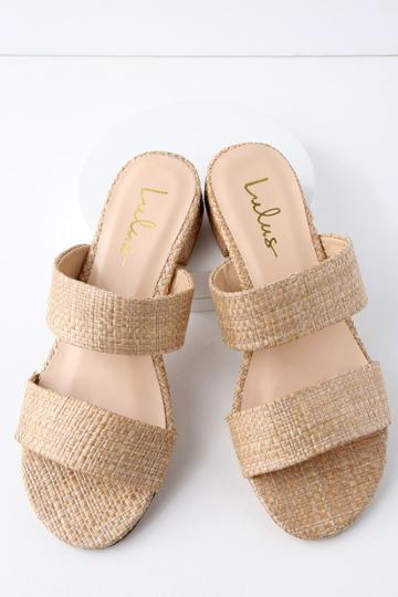 Decker Natural Woven Slide Sandal Heels | Lulus
