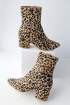 Matisse At Ease Leopard Pony Fur Mid-calf High Heel Boots | Lulus
