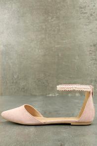 Bonnibel Kelby Blush Suede Ankle Strap Flats