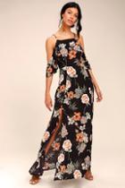 Dress Forum Sweet Scene Black Floral Print Off-the-shoulder Maxi Dress