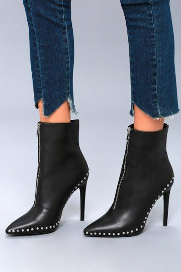 Wild Diva Lounge Tamsin Black Studded High Heel Booties | Lulus