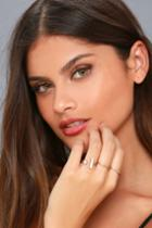 Lulus | Head In The Clouds Gold And White Ring Set