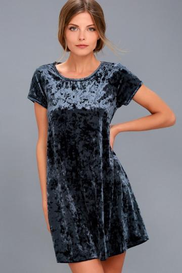 Z Supply Nivea Navy Blue Crushed Velvet Swing Dress   Lulus