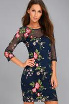 Wilhelmina Navy Blue Embroidered Dress | Lulus