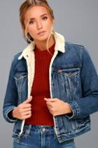 Levi's Original Trucker Medium Wash Denim Shearling Jacket
