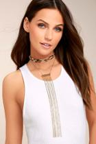 Lulus Wild One Gold And Leopard Layered Choker Necklace