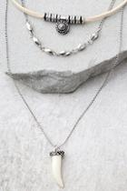 Lulus Archaeology Quest Silver And Cream Layered Choker Necklace