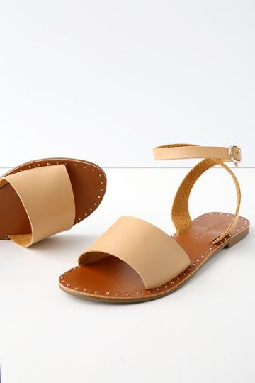 City Classified Leeah Natural Studded Flat Ankle Strap Sandal Heels | Lulus