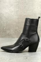 Matisse Flipside Black Leather Pointed Toe Mid-calf Boots