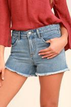 Rvca The Boyfriend Medium Wash Cutoff Denim Shorts