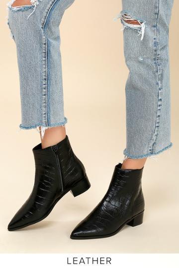 Tony Bianco Jayden Black Croc Embossed Leather Ankle Booties | Lulus
