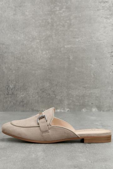 Paprika Eliza Clay Grey Suede Loafer Slides | Lulus
