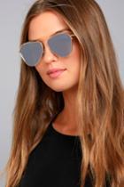 Keep Dancing Gold And Grey Mirrored Aviator Sunglasses | Lulus