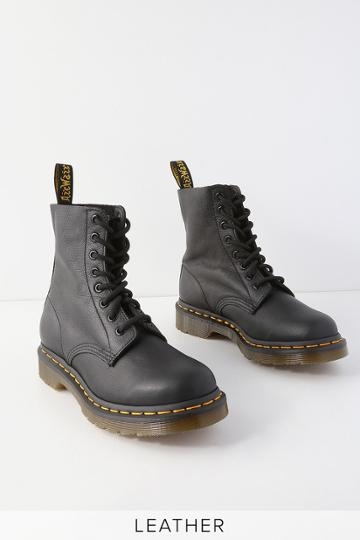 Dr. Martens 1460 Pascal Black Virginia Leather 8-eye High Heel Boots | Lulus
