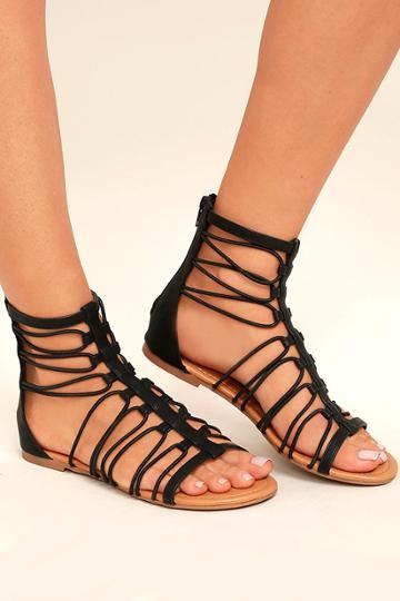 Jora Black Gladiator Sandal Heels | Lulus