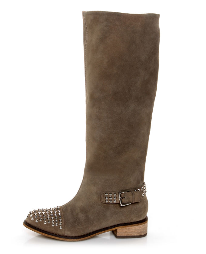 Kelsi Dagger Rover Taupe Suede Studded Cap Toe Knee High