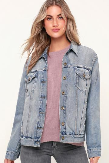 Pistola Naya Light Wash Distressed Oversized Denim Jacket | Lulus