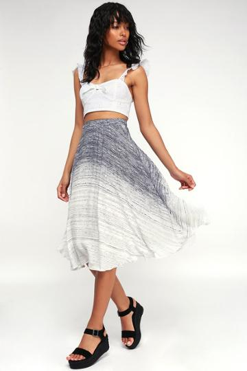 Endless Dream Navy Blue And White Striped Midi Skirt | Lulus