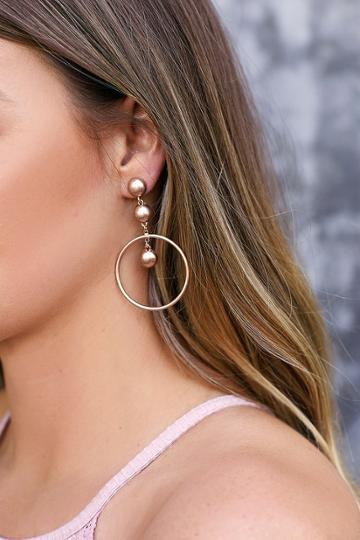 Dot, Dot, Drop Rose Gold Earrings | Lulus
