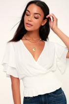 Camelia White Smocked Surplice Top | Lulus