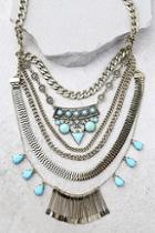 Lulus In The Morning Turquoise And Gold Statement Necklace
