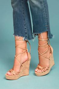 Liliana Macy Nude Suede Lace-up Wedges