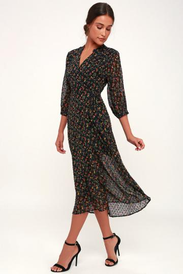Lush Go With The Flo-ral Black Floral Print Swiss Dot Midi Wrap Dress   Lulus