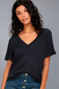 Lulus Tee For You Navy Blue Tee