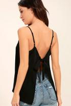 Lulus Bow Me Away Black Backless Satin Top