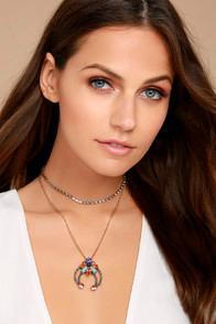 Lulus Splendor Of Love Gold Rhinestone Layered Choker Necklace