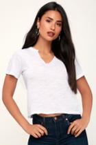 Day Rebel White Notched Cropped Tee | Lulus