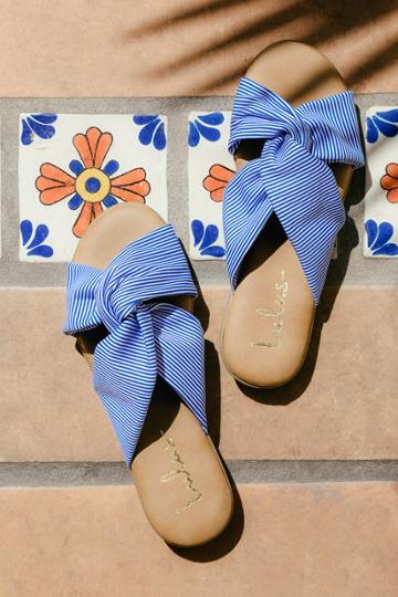 Bamboo Santana Blue Striped Slide Sandal Heels | Lulus