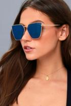 Lulus | Up On High Gold And Blue Mirrored Sunglasses