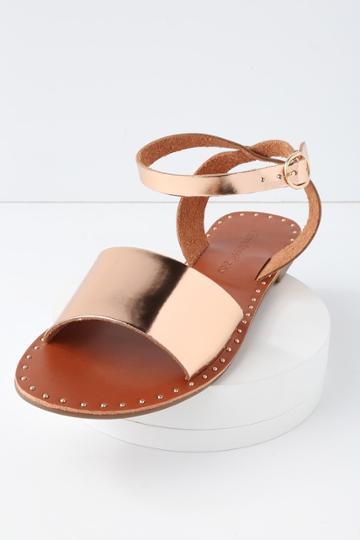 City Classified Leeah Rose Gold Studded Flat Ankle Strap Sandal Heels | Lulus