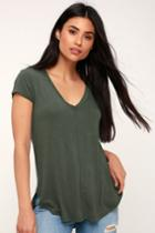 Z Supply Mya Olive Green V-neck Tee | Lulus