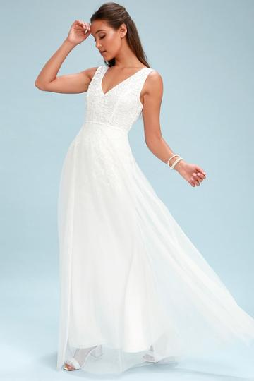 Sonnet White Lace Backless Maxi Dress   Lulus
