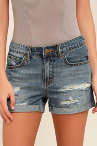 Billabong Frankie Medium Wash Distressed Jean Shorts