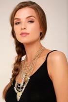 Lulus | All Fleur You Gold Rhinestone Layered Statement Necklace
