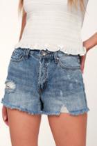 Evidnt Daytona Medium Wash Distressed Denim Boyfriend Shorts | Lulus