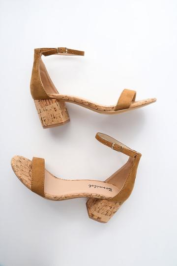 Bonnibel Brooke Tan Cork Ankle Strap Heels | Lulus