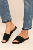 Addison Black Nubuck Slide Sandal Heels   Lulus