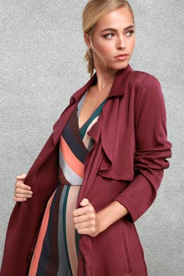 Happily Weather After Plum Purple Trench Coat   Lulus