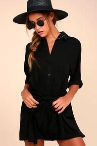 Lulus Go With The Flow Black Shirt Dress
