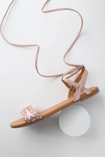 Soda Clarke Rose Gold Flat Lace-up Sandal Heels | Lulus