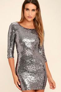 Just Me World's A Stage Pewter Sequin Dress