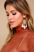 Lulus | Dreamland Orange And Gold Tassel Earrings